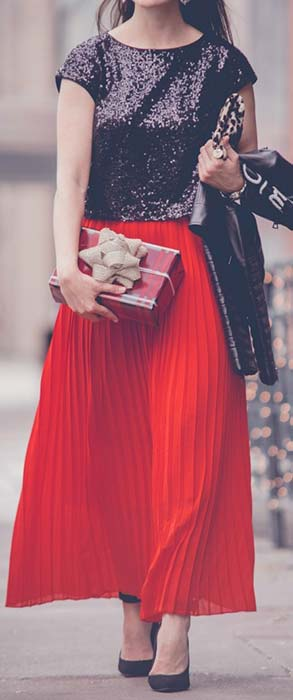 Red Maxi Skirt and Sequin Top