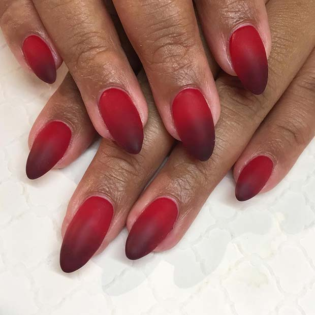 Red Matte Ombre Nails