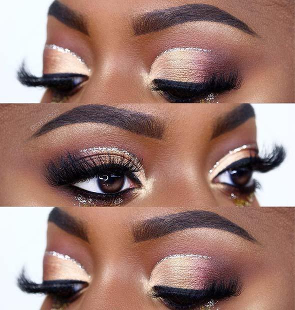 Shimmery Eye Makeup for Dark Skin