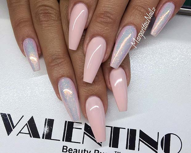 Shimmery Nude Coffin Nails