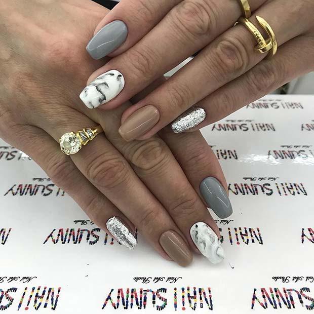 Short Acrylic Marble Nails
