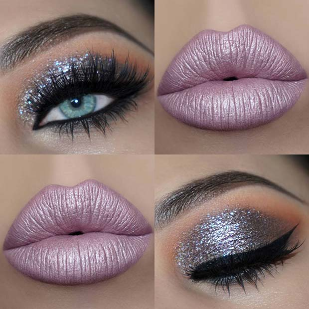 Silver Eyes and Metallic Pink Lips