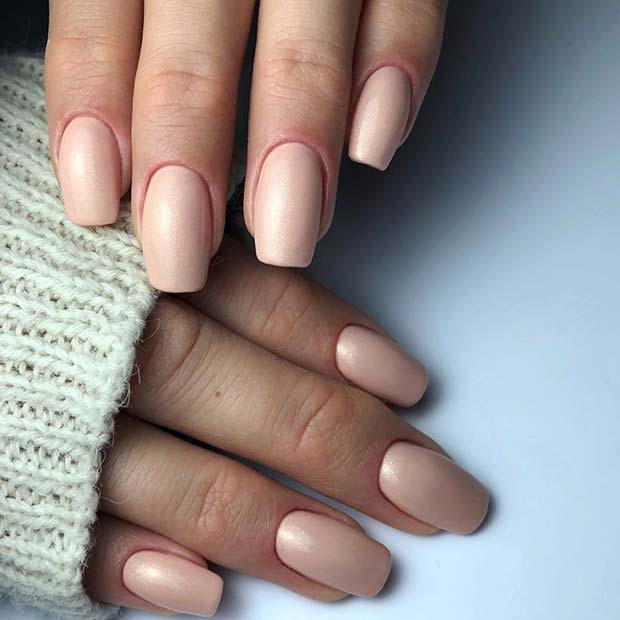 Simple, Nude Acrylic Nails