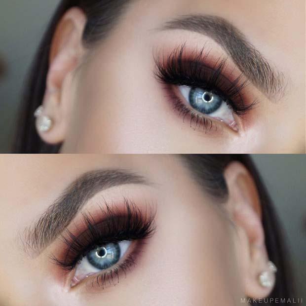 Smokey Brown Eye Makeup Idea for Blue Eyes