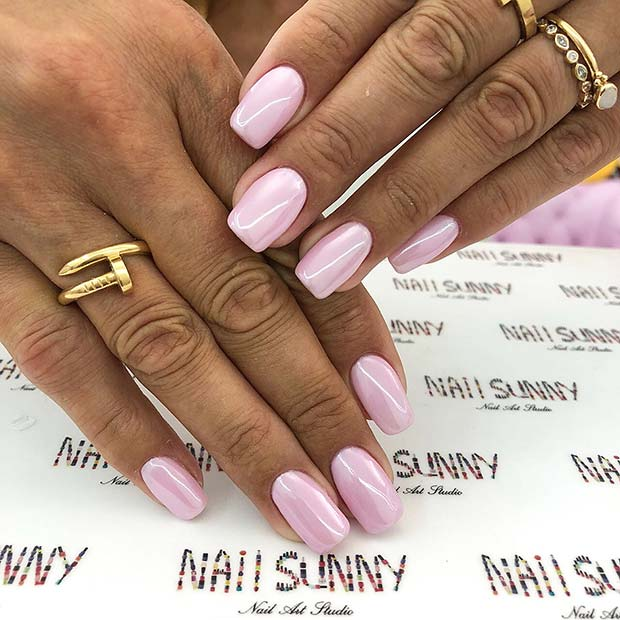 Shiny, Soft Pink Acrylic Nails
