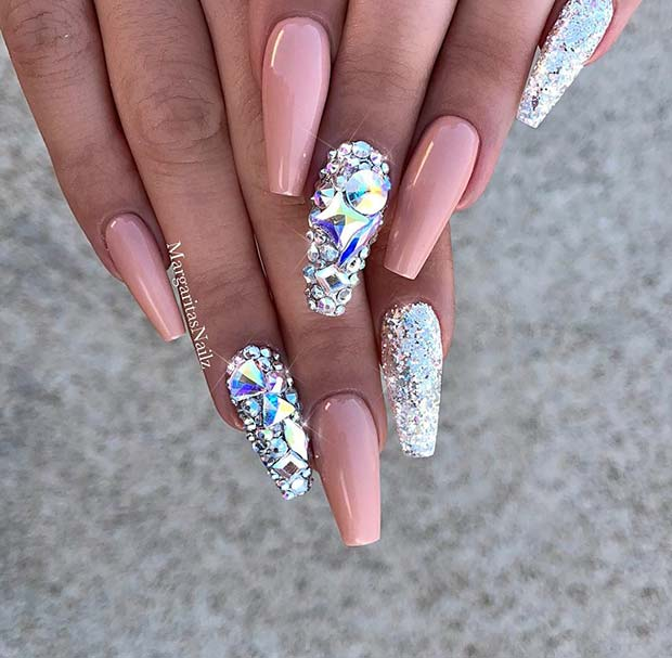 Sparkling Nude Coffin Nail Idea