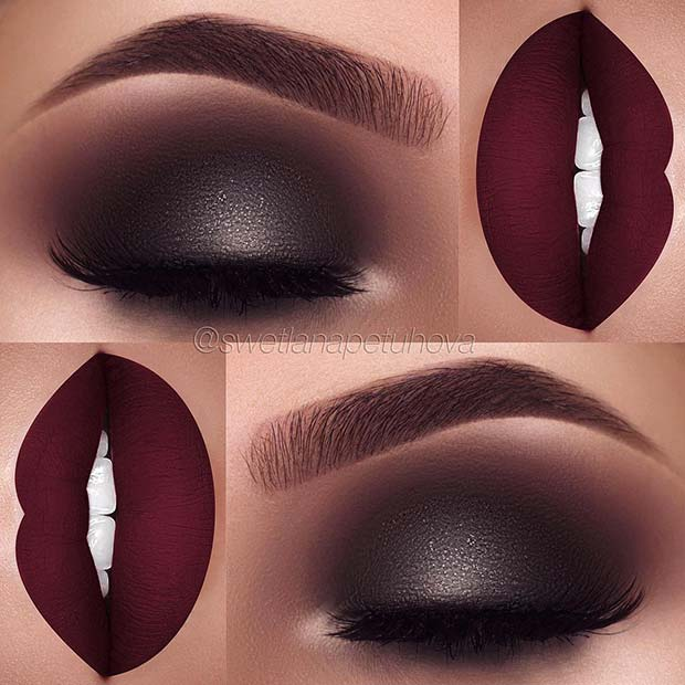 Sparkly Dark Eyes with Burgundy Lips