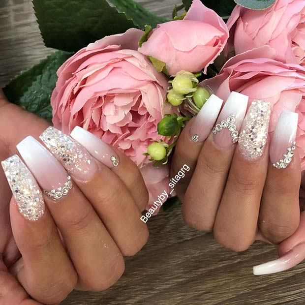 Sparkly French Ombre Coffin Nails