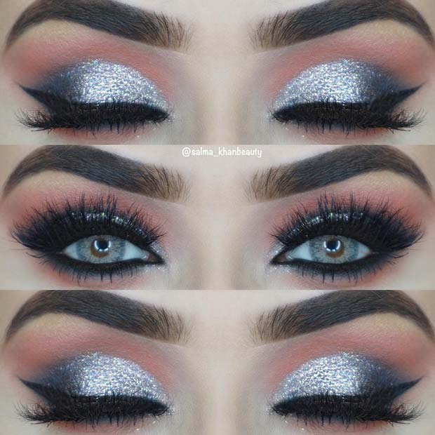 Sparkly Silver Eye Makeup Idea for Blue Eyes