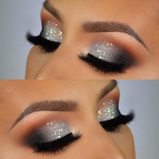 Silver Sparkle Eye Makeup for Christmas or NYE