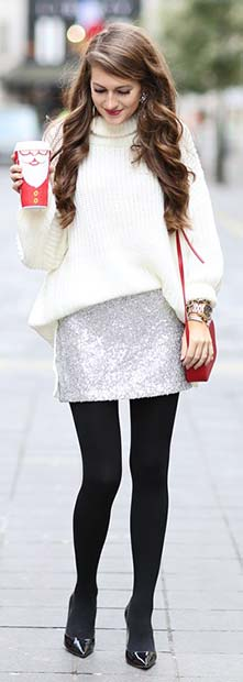 Sparkly Skirt and Sweater Christmas Outfit Idea