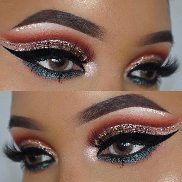 Statement Glitter Eye Makeup Idea