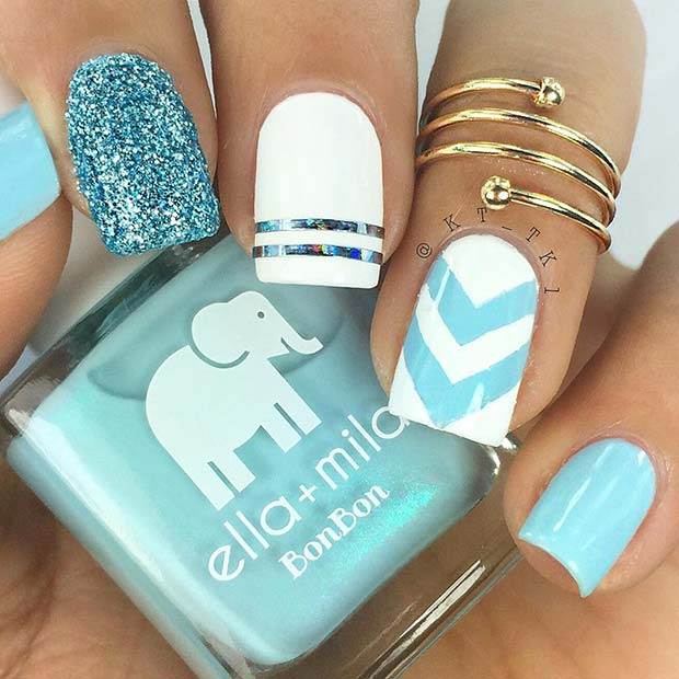 Cute White and Blue Nails