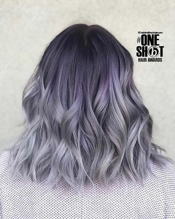 Stylish, Purple to Grey Ombre Bob