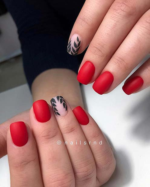Matte Red Nail Design for Short Nails