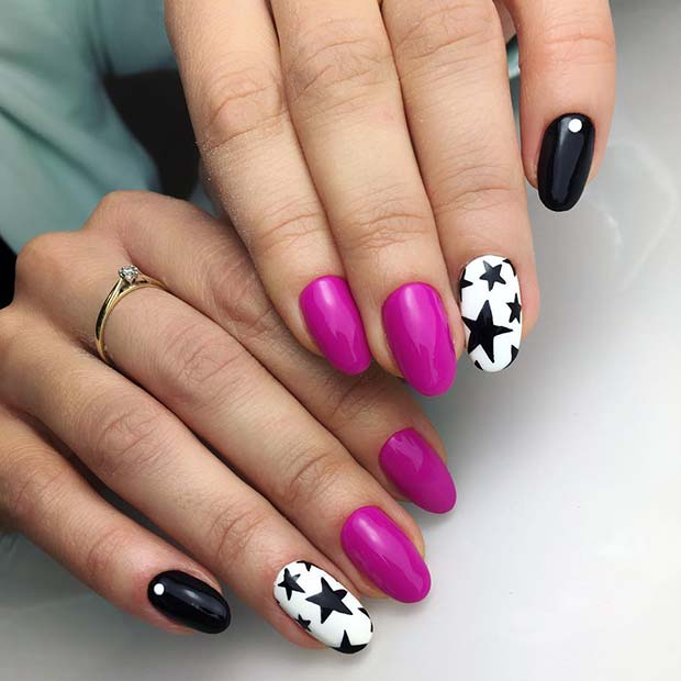 Simple Star Nail Design