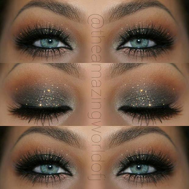 Sparkly, Black Smokey Eye for Blue Eyes