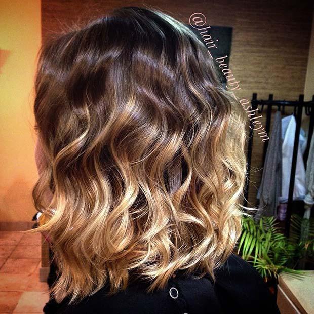 Summery Short Blonde Ombre Lob