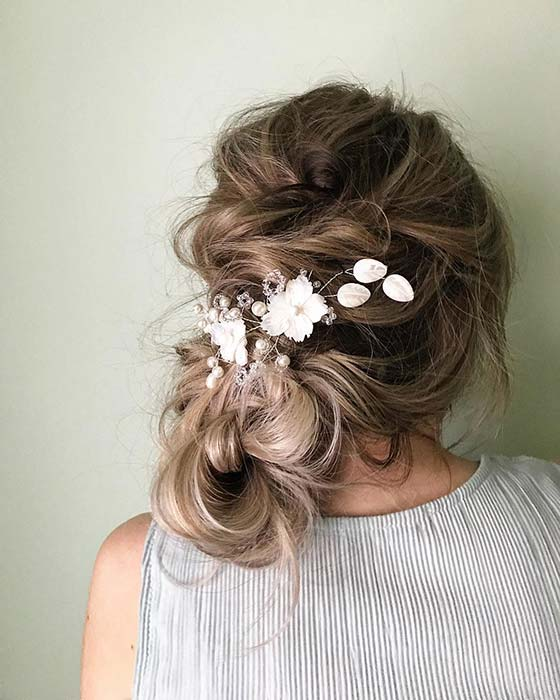 Messy and Textured Wedding Updo
