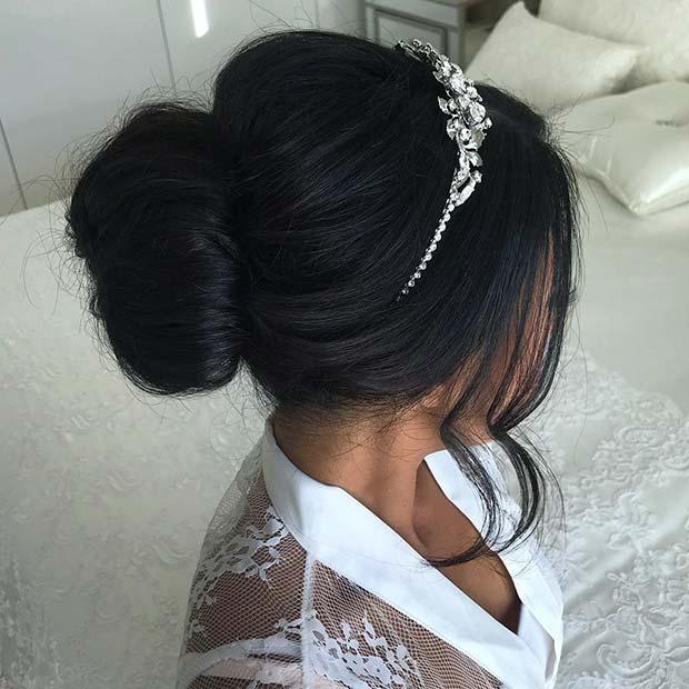 Elegant Wedding Bun + Tiara