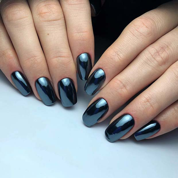 Trendy Chrome Acrylic Nails