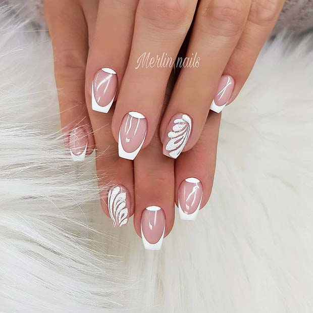 French Manicure for Short Coffin Shaped Nails