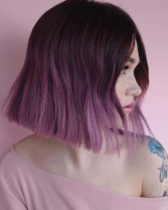 Trendy Purple Ombre Bob