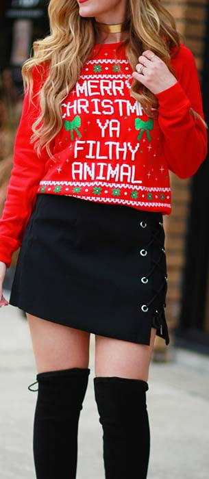 Ugly Christmas Sweater Outfit Idea