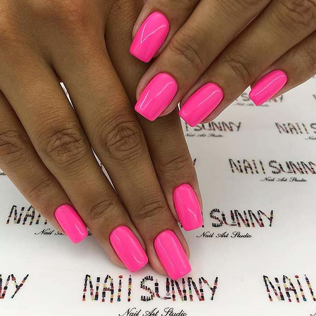 Vibrant Pink Acrylic Nails