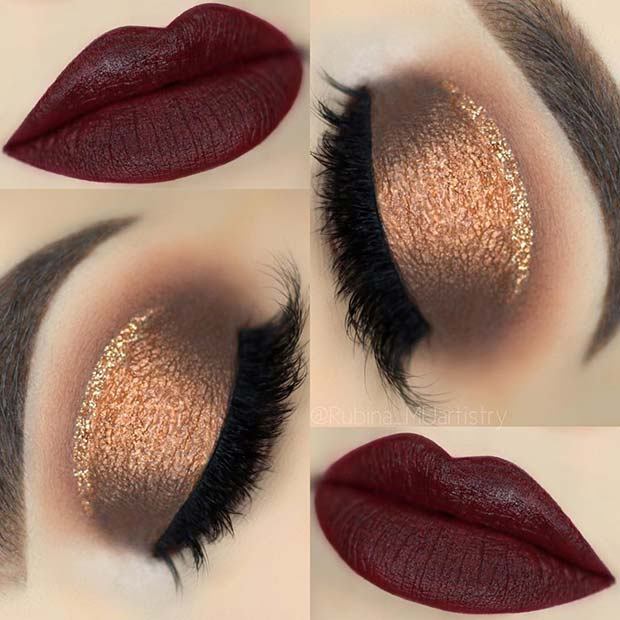Shimmery Gold Eyes with Dark Red Lips