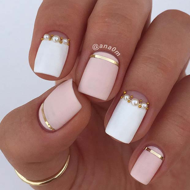 Matte White and Light Pink Nails with Pearls