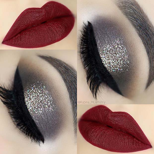 Wintry Eyes with Red Lips for a Christmas Party