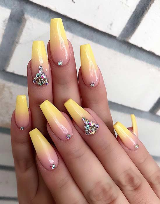 Yellow Ombre Coffin Nails
