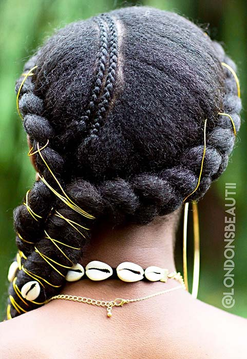 Accessorized Thick and Thin Braids for Natural Hair