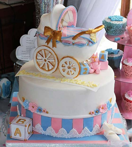 Beautiful Pink and Blue Gender Reveal Cake