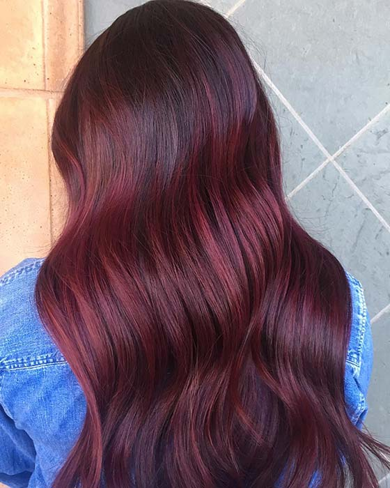 Beautiful Wavy Burgundy Hair