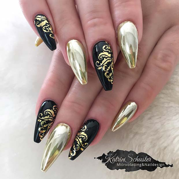 Black Coffin Nails with Gold Chrome
