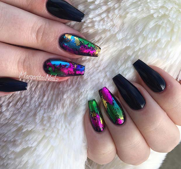 Black Coffin Nails with Rainbow Art
