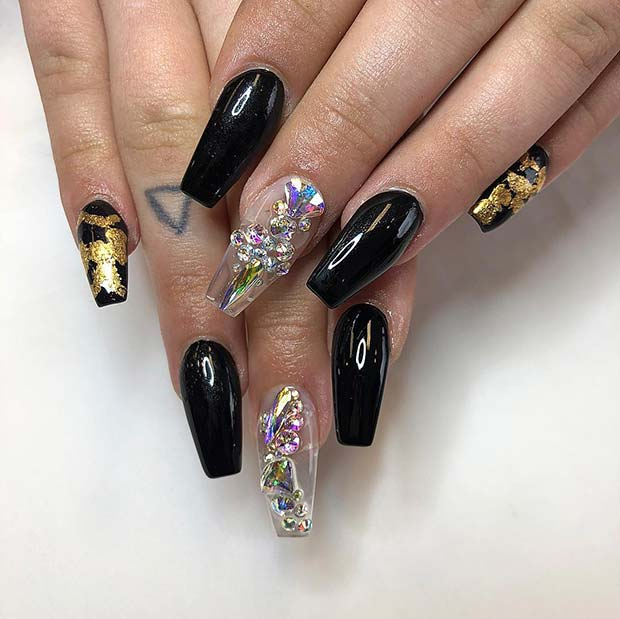 Black and Jelly Coffin Nails