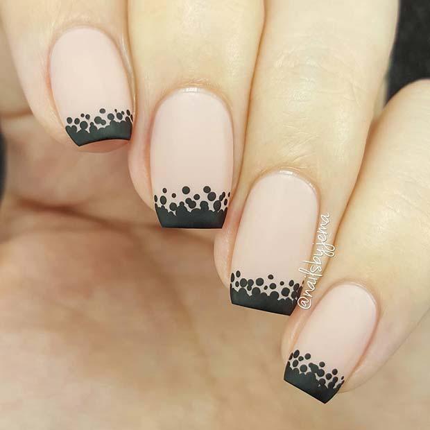 Matte Black Tips and Polka Dot Nails