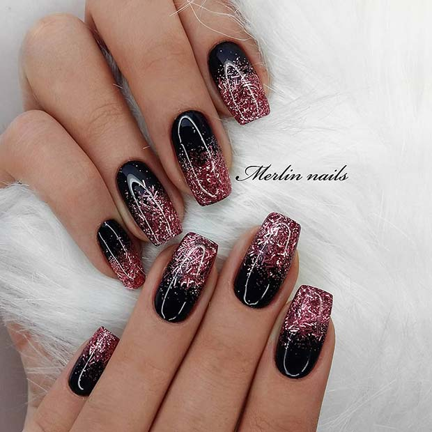 Image result for black and pink glitter ombre gel nails
