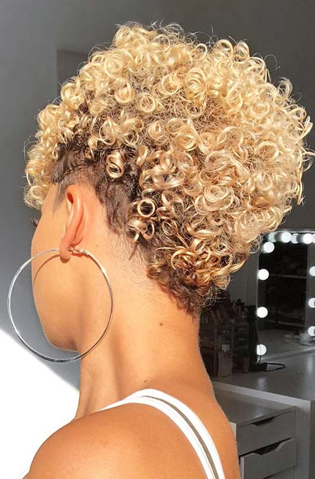 Short, Blonde Curly Hairstyle