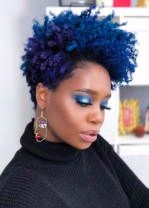 Bold, Natural Blue and Purple Hair