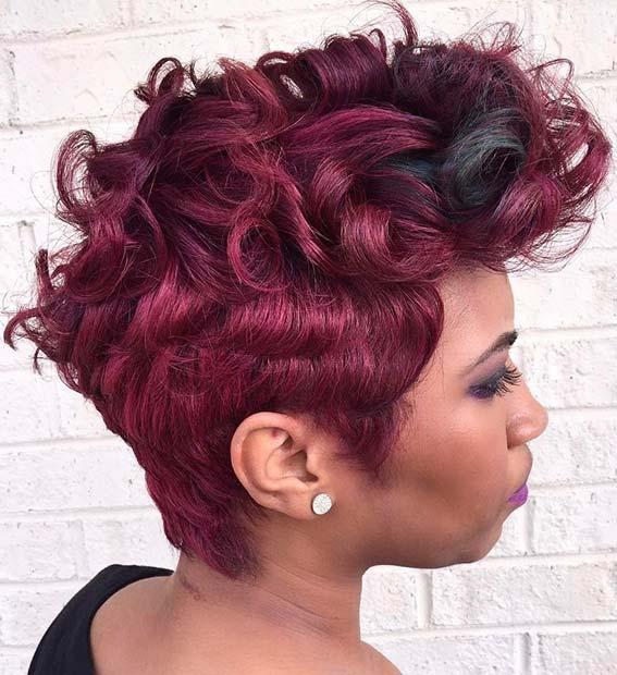 Bold Short Burgundy Hair