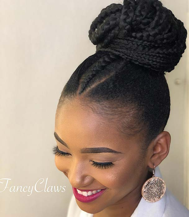 Braided Updo with Center Braid