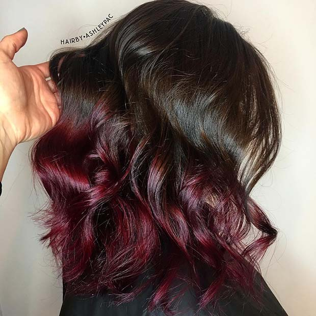 Brown to Burgundy Ombre Hair
