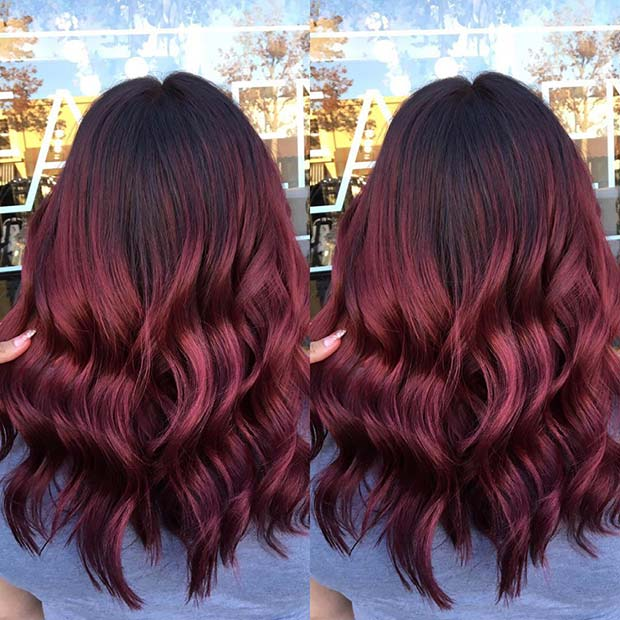 Burgundy Hair Balayage