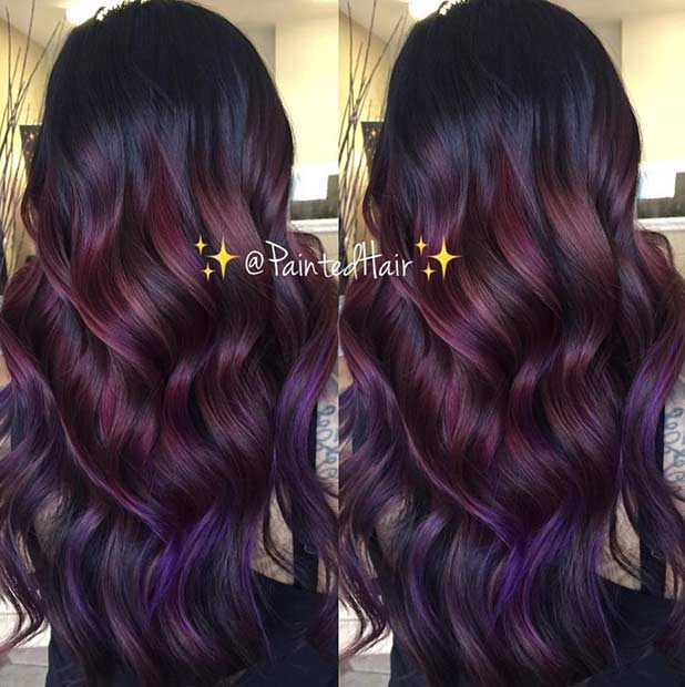 Burgundy Purple Hair