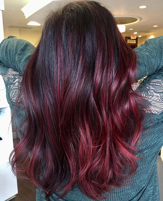 Black and Burgundy Hair