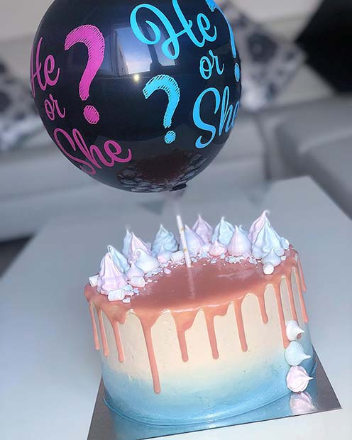 Gender Reveal Cake with He or She Balloon